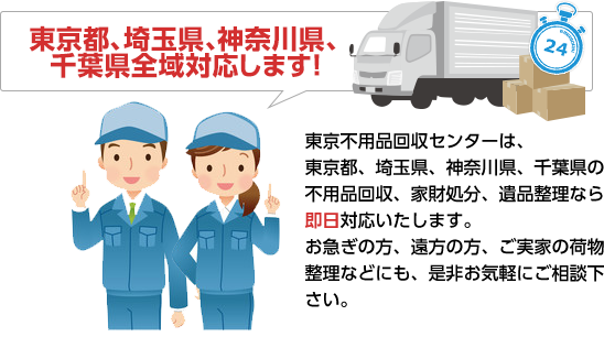 東京都、埼玉県、神奈川県、千葉県全域対応します!